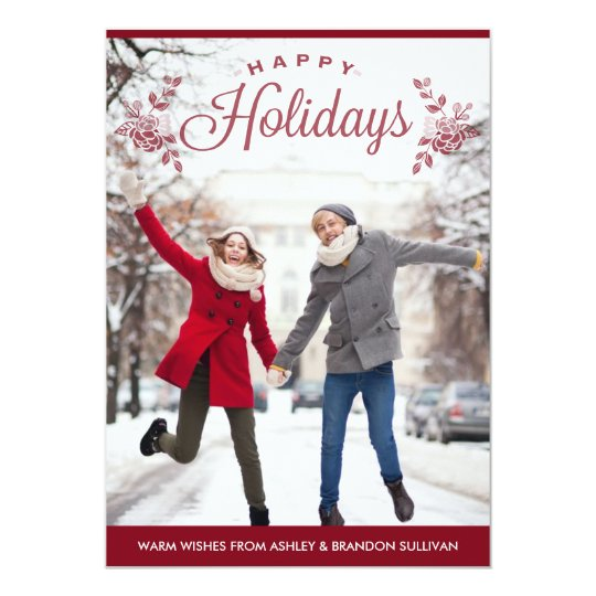 Red Happy Holidays Typography Holiday Photo Card