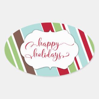 Red Happy Holidays Typography w/ Diagonal Stripes Oval Sticker