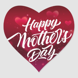 Red happy mother's day hearts background heart sticker
