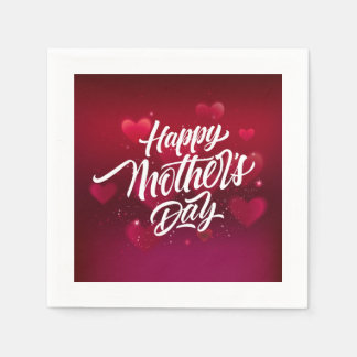 Red happy mother's day hearts background paper serviettes