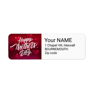 Red happy mother's day hearts background return address label