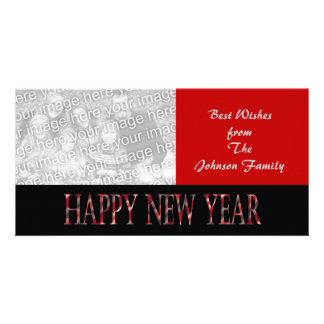 red happy new year personalized photo card