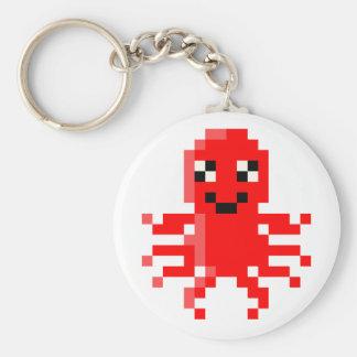 Red Happy Pixel Squid Key Ring