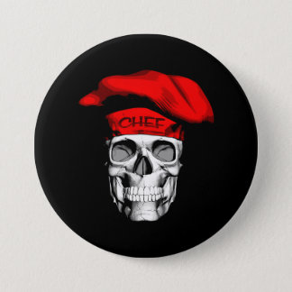 Red Hat Chef Skull 7.5 Cm Round Badge