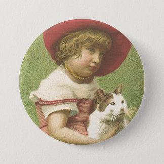 Red Hat Girl Holding A Cat  Ephemera 7.5 Cm Round Badge