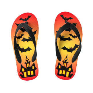 Red Haunted House and Bats Kid's Thongs