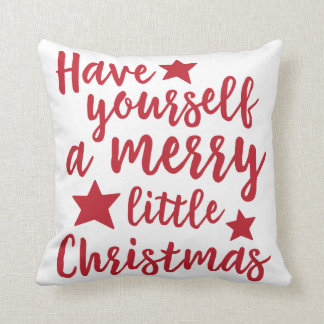 Red Have Yourself a Merry Little Christmas Pillow Cushion
