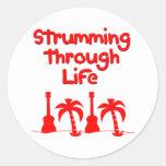 Red Hawaain Ukulele Uke Tropical Surf Design Round Sticker
