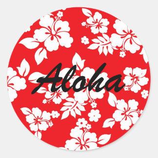 Red Hawaiian Round Sticker