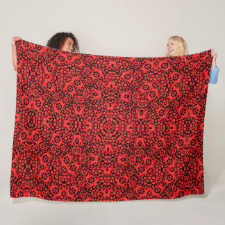Red Hawaiian Sea Turtles Satin Foulard Mandala Fleece Blanket