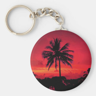 Red Hawaiian Sunset Exotic Palm Trees Basic Round Button Key Ring