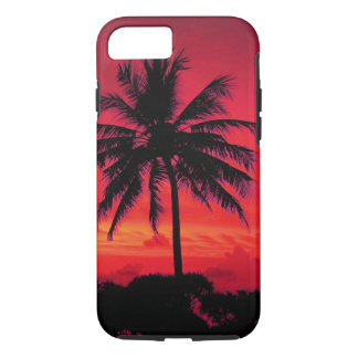 Red Hawaiian Sunset Exotic Palm Trees iPhone 7 Case