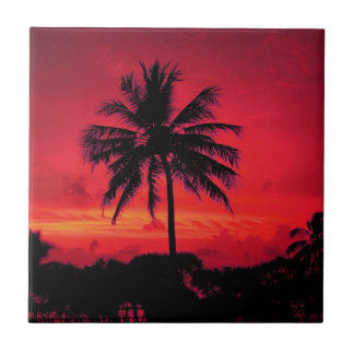 Red Hawaiian Sunset Exotic Palm Trees Tile