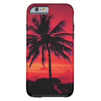 Red Hawaiian Sunset Exotic Palm Trees Tough iPhone 6 Case