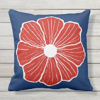 Red Hawaiian Tropical Summer Flower Pillow