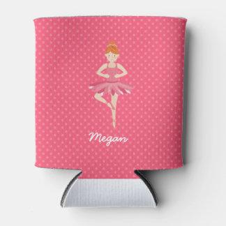 Red Head Ballerina on Pink Polka Dots