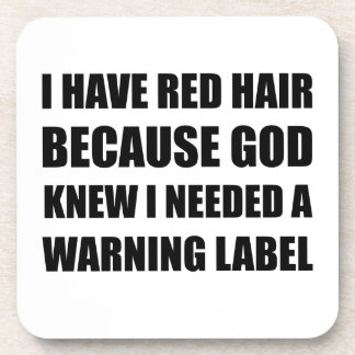 Red Head Hair Warning Label Funny Coaster