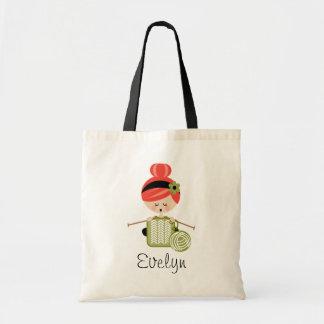 Red Head Knitting Girl Tote Bag
