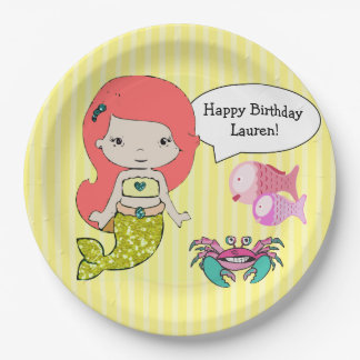 Red Head Mermaid Yellow Birthday Party Plates