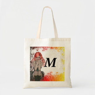 Red headed goth girl budget tote bag