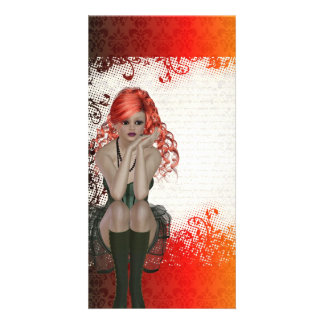 Red headed goth girl photo cards