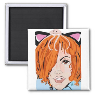 Red Headed Vixen with Cat Ears Square Magnet