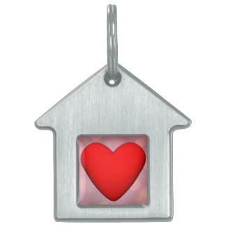 Red heart - 3D render Pet Name Tag