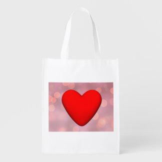 Red heart - 3D render Reusable Grocery Bag