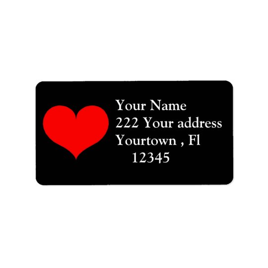 Red Heart Address Label