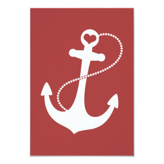 Red Heart Anchor Nautical Wedding RSVP Card