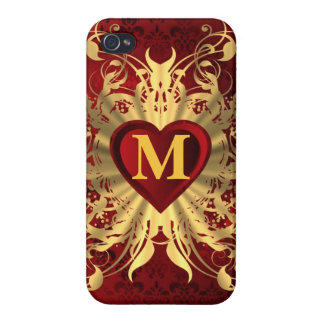 Red heart and gold pattern monogrammed iPhone 4/4S case