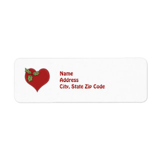 Red Heart and Green Holly Holiday Return Address Return Address Label