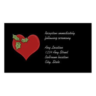 Red Heart and Green Holly Wedding Reception Cards Double-Sided Standard Business Cards (Pack Of 100)