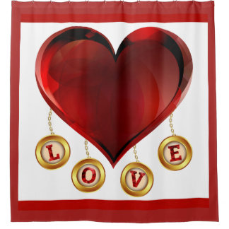 Red Heart and Love Shower Curtain