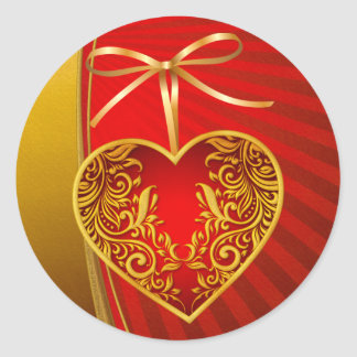 Red Heart and Ribbon Bow Classic Round Sticker