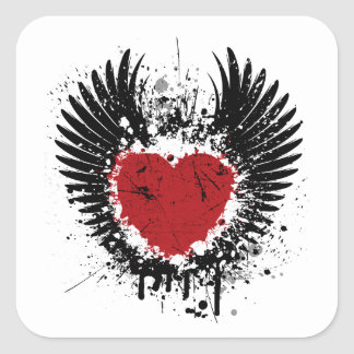 Red Heart And Wings Grunge Background Stickers