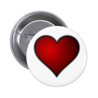 Red Heart Pinback Buttons