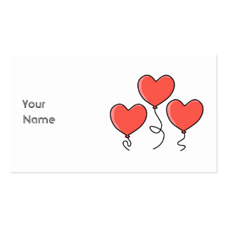 Red Heart Balloons. Pack Of Standard Business Cards