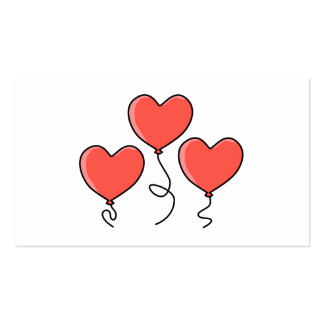 Red Heart Balloons. Double-Sided Standard Business Cards (Pack Of 100)