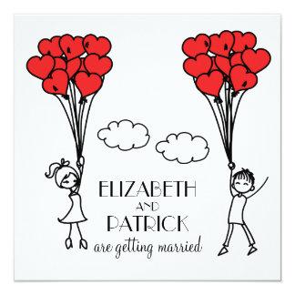Red Heart Balloons Doodles Wedding Invitation