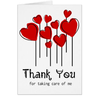 Red Heart Balloons Thank You Nurse Notecard Stationery Note Card