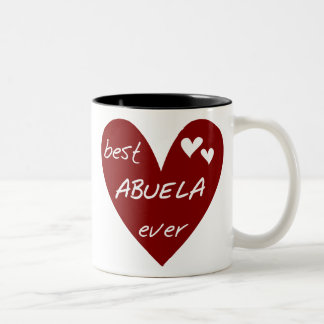 Red Heart Best Abuela Ever T-shirts and Gifts Two-Tone Coffee Mug