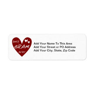 Red Heart Best Gram Ever Tshirts and Gifts Return Address Label