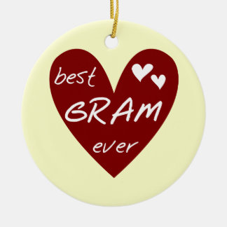 Red Heart Best Gram Ever Tshirts and Gifts Round Ceramic Decoration