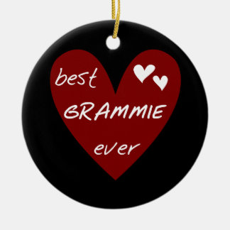 Red Heart Best Grammie Ever T-shirts and Gifts Round Ceramic Decoration