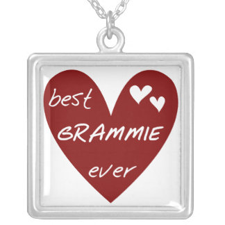 Red Heart Best Grammie Ever T-shirts and Gifts Silver Plated Necklace