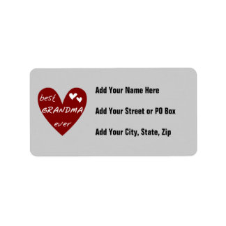 Red Heart Best Grandma Ever T-shirts and Gifts Address Label