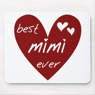 Red Heart Best Mimi Ever Tshirts and Gifts Mouse Pads