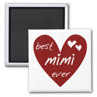 Red Heart Best Mimi Ever Tshirts and Gifts Square Magnet