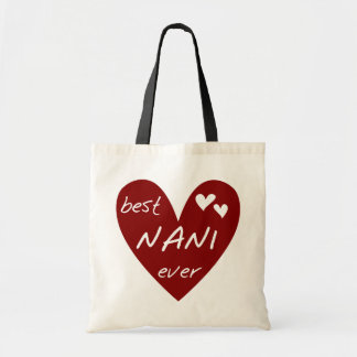 Red Heart Best Nani Ever T-shirts and GIfts Budget Tote Bag